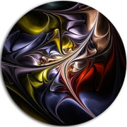 DesignArt Multicolored Stained Floral Shapes Graphic Art Print on Metal; 11'' H x 11'' W x 1'' D