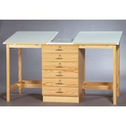 SMIProducts ST Series Double Station Table; Medium (Golden Oak) Stained