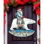 G Debrekht Santa on Polar Bear Scenic North Pole Wooden Decorative Door Hanger
