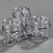 Carlisle  Set of 3 Condement Jars/Lids and a Caddy, Clear (457307)