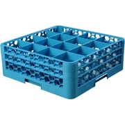 "Carlisle  OptiClean™ 16 Compartment Glass Rack with 2 Extenders, 7.12"", Carlisle Blue (RG16-214)"