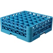 "Carlisle  OptiClean™ 36 Compartment Glass Rack with 2 Extenders, 7.12"", Carlisle Blue (RG36-214)"