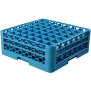 "Carlisle  OptiClean™ 49 Compartment Glass Rack with 2 Extenders, 7.12"", Carlisle Blue (RG49-214)"