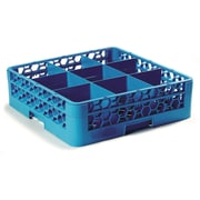 "Carlisle  OptiClean™ 9 Compartment Glass Rack with 1 Extender, 5.56"", Carlisle Blue (RG9-114)"