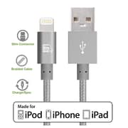 LAX Appler MFI Certified 4 Feet Strong Braided Lightning USB Data Synch Charging Cable - Gray