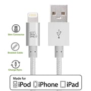 LAX Appler MFI Certified 4 Feet Strong Braided Lightning USB Data Synch Charging Cable - Silver