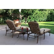 Darlee Santa Barbara 3 Piece Chaise Lounge Set w/ Cushions; Mocha
