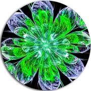 DesignArt 'Shiny Green Purple Fractal Flower on Black' Floral Graphic Art Print on Metal