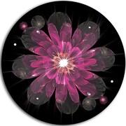 DesignArt 'Shiny Light Pink Fractal Flower on Black' Floral Graphic Art Print on Metal