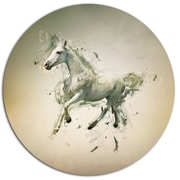 DesignArt 'White Horse in Motion on Brown' Graphic Art Print on Metal; 11'' H x 11'' W x 1'' D