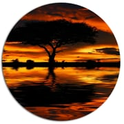 DesignArt 'Tree Silhouette and Dramatic Sunset' African Landscape Graphic Art Print on Metal