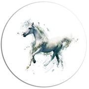 DesignArt 'White Horse in Motion on White' Graphic Art Print on Metal; 11'' H x 11'' W x 1'' D