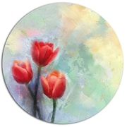 DesignArt 'Red Tulips on Light Blue Watercolor' Oil Painting Print on Metal; 11'' H x 11'' W x 1'' D