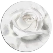 DesignArt 'White Rose Watercolor on White' Oil Painting Print on Metal; 11'' H x 11'' W x 1'' D