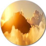 DesignArt 'People Enjoying Sunset on Top of Mountain' Photographic Print on Metal