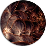 DesignArt 'Glittering Brown Fractal Flower on Black' Graphic Art Print on Metal