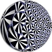 DesignArt '3D Shaped Black and White Flower Design' Modern Floral Graphic Art Print on Metal