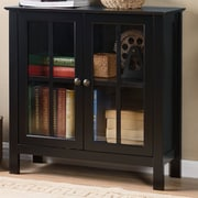 OS Home & Office Furniture Glass 2 Door Accent Cabinet; Black