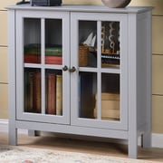 OS Home & Office Furniture Glass 2 Door Accent Cabinet; Gray