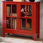 OS Home & Office Furniture Glass 2 Door Accent Cabinet; Red