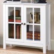 OS Home & Office Furniture Glass 2 Door Accent Cabinet; White
