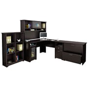 Click here to buy Bush Furniture Cabot 66.46 inch x 90.83 inch x 90.83 inch  Desk with Hutch, 6 Cube Bookcase and Lateral File, Espresso....