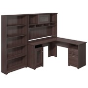 Bush Furniture Cabot L-Desk with Hutch and 5 Shelf Bookcase, Heather Gray (CAB011HRG)