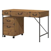 kathy ireland® Office by Bush Furniture Ironworks 48W Writing Desk and 2 Drawer Mobile Pedestal, Vintage Golden Pine (IW001VG)