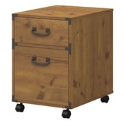 kathy ireland® Office by Bush Furniture Ironworks 2-Drawer Mobile Pedestal, Vintage Golden Pine (KI50102-03)