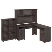 Bush Furniture Cabot Collection L-Desk with Hutch and 6 Cube Bookcase, Heather Gray (CAB004HRG)