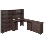 Bush Furniture Cabot Collection L-Desk with Hutch, Lateral File and 5 Shelf Bookcase, Heather Gray (CAB010HRG)