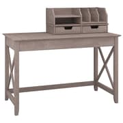 "Bush Furniture Key West 48""W Writing Desk with Desktop Organizers, Washed Gray (KWS005WG)"