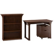 """Bush Furniture Mission Creek 48""""W Writing Desk with 2 Drawer Mobile Pedestal and Bookcase, Antique Cherry (MCR002AN)"""