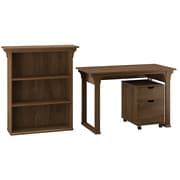 """Bush Furniture Mission Creek 48""""W Writing Desk with 2 Drawer Mobile Pedestal and Bookcase, Rustic Brown (MCR002RB)"""