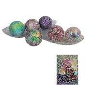 Essential Decor & Beyond Mosaic Decoration Ball Sculpture (Set of 6); Blue / Red / Purple / Green