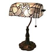AmoraLighting Tiffany Floral Banker 13'' Table Lamp