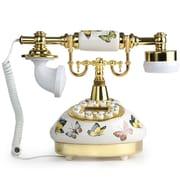 LNCHome Butterfly Ceramic Retro Push Button Dial Desk Telephone