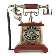 LNCHome Solid Wood Resin Retro Rotary Dial Desk Telephone