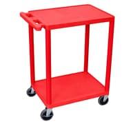 Offex 2 Shelf Utility Cart; Red
