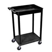 Offex Top Tub and Bottom Flat Shelf Utility Cart; Black