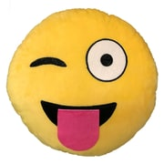 Creative Motion Emoji Tongue Out Eye Wink Throw Pillow
