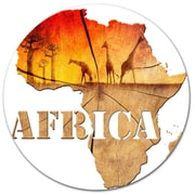 DesignArt 'Africa Map Wooden Illustration' Graphic Art on Metal; 11'' H x 11'' W x 1'' D