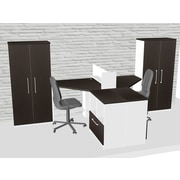 TeamCENTERoffice Triangular Corner 7 Piece L-Shaped Desk Office Suite