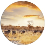DesignArt 'African Zebras Walking in Row' African Landscape Photographic Print on Metal