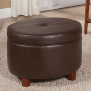 HomePop Large Round Storage Ottoman; Chocolate Brown