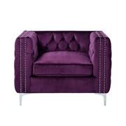 Inspired Home Co. Leonardo Tufted Club Chair; Purple