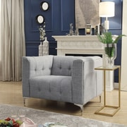 Inspired Home Co. Seurat Tufted Club Chair; Light Gray