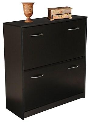 Rebrilliant Double Shoe Cabinet; Black