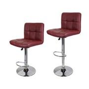 Calhome 21.5'' Swivel Bar Stool w/ Cushion (Set of 2); Wine Red