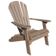 Buyers Choice Phat Tommy Folding Recycled Poly Adirondack Chair; Weatherwood